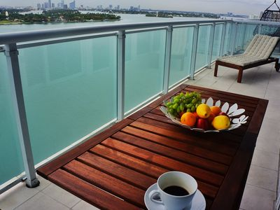 Enjoy breakfast at balcony