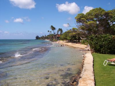 View of park's beach next door from Paki Maui grass; snorkeling beyond 1st reef
