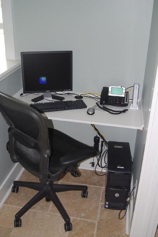 Full office with computer, speaker phone, printer