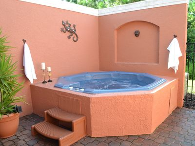 Large 8 person Hot tub on the equisite private patio.