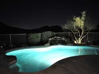 Scottsdale Troon house photo - Lighted pool with silhouetted mountain view looking southwest