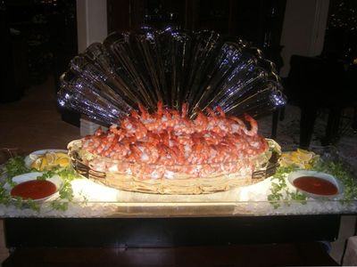 Ice Sculpture with Shrimp from the Caterer