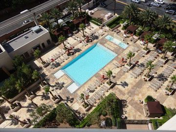 View of our pool from the balcony