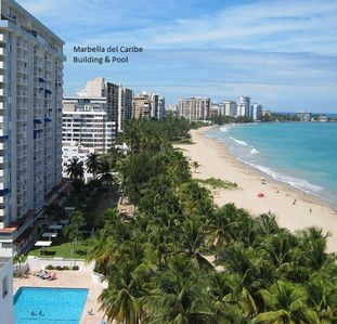 Marbella Der Caribe condos and pool view of beautiful Isla Verde Beach