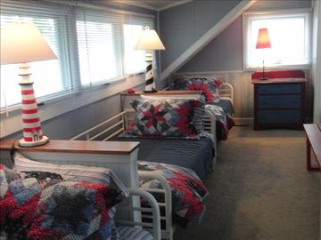 The upstairs 'bunk room.' Another bedroom w/double bed just to rhe right