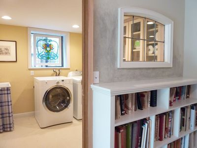 LAUNDRY ROOM on lower level and art book collection