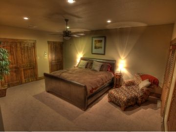 Master suite with walk in closet and patio