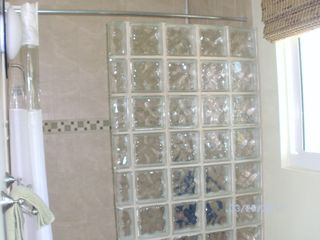 Cayman Brac house photo - Master shower with glass block wall.