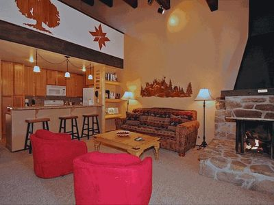 Large Great Room off of newly remodeled kitchen.  Gas Fireplace w/ ceramic logs