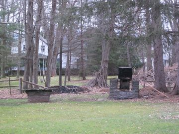 Back yard with fireplace