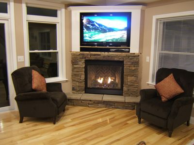 Jay Peak house rental - Warm up in the hot tub or by the fireplace.