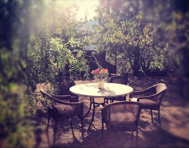 Malibu cottage rental - Afternoon drinks or a mid-day meal under the peach trees?