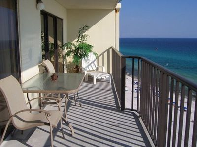 Large Gulf Front Balcony.  WI-FI throughout the condo, even here.