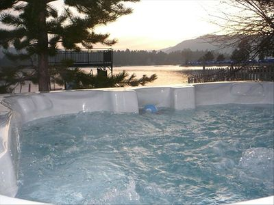 Spa overlooking the lake at sunset