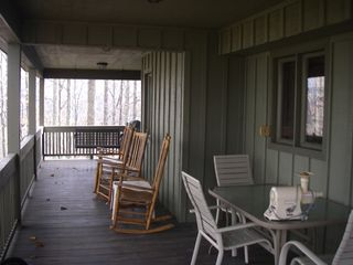 Blowing Rock cottage photo - The back porch with rockers, a swing, and table/chairs. Summer is great!