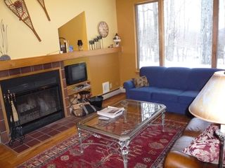 Killington townhome photo - Living Room with wood burning fireplace