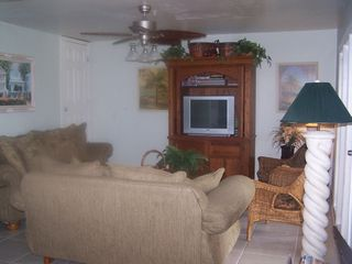 Fort Myers Beach house photo - Downstairs living area w/DVD and VCR Cable TV