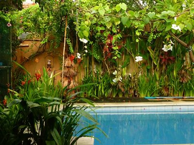 pool with exotic flowers
