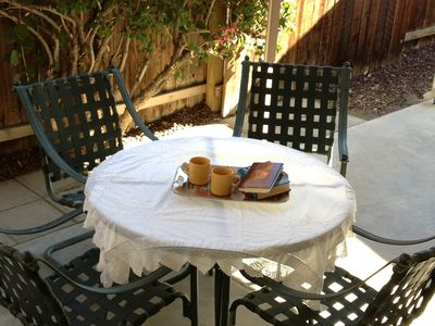 Perfect patio retreat to enjoy a cup of coffee and your favorite book.