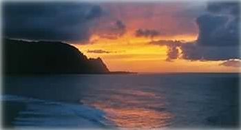 This sunset outlines Mt. Makana, aka (Bali Hai), these are real photos!