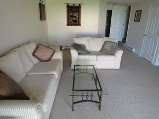 Ossipee Lake townhome photo - Lounge downstairs, patio to grass and beach