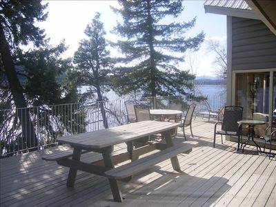 Balcony on main level overlooking Whitefish Lake