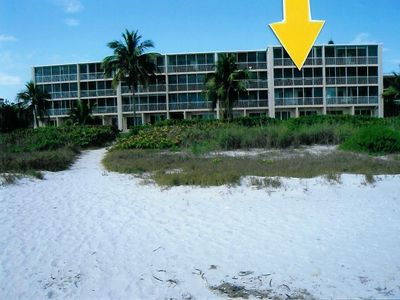 Sanibel Island condo rental - Our condo is at the tip of this arrow. :)