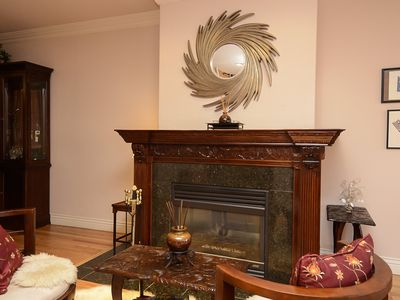 Living room has great gas fireplace and house has cherry wood through out!