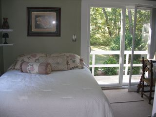 Vineyard Haven house photo - 2nd bedroom with flat screen TV- sliding door to outside hot shower