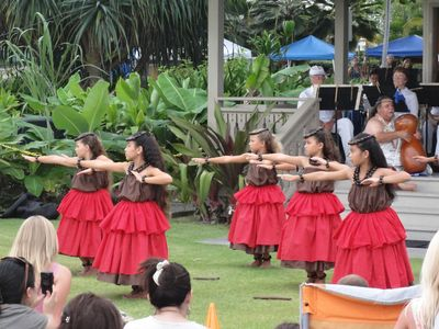 Lovely young hula dancers at the Hulihe Palace.