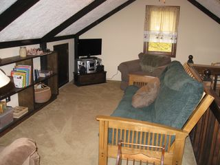 Margaretville cabin photo - Loft with entertainment center!