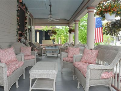 The beautiful Puffin wrap-around front porch. Lots of shade for hot summer days.