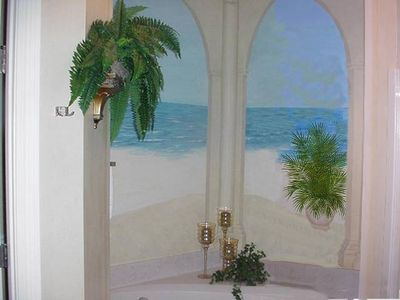 Master Bath with Custom Mural