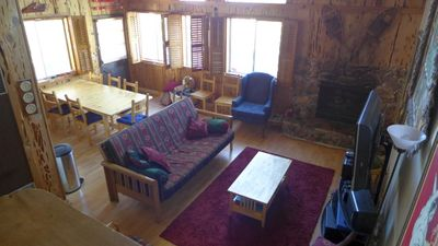 View of the living area and dining room from upstairs.