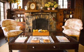 Downstairs stone fireplace / living room