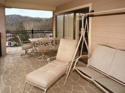 Spacious balcony w/ nice patio furniture including