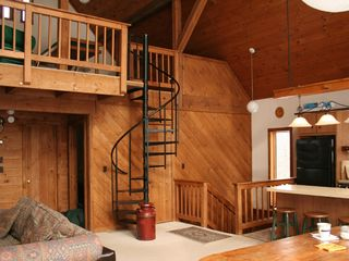 Killington house photo - View up to large sleeping loft and down to TV den
