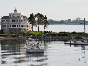Bailey Island house rental - View of House from Cribstone Bridge;House is surrounded by water and boats