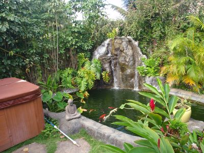 Bellows Beach Waimanalo house rental - Koi Pond and Waterfall in Quiet backyard
