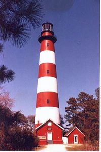 Historic Assateague Lighthouse near Chincoteague's Ponyisland rental house in VA