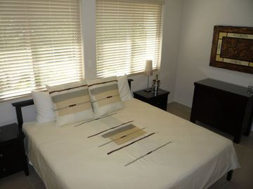 King bed in the large master bedroom