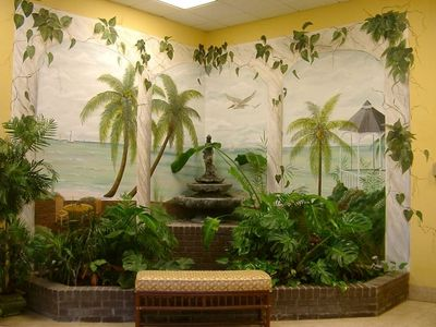 Water Fountain and Mural in Lobby