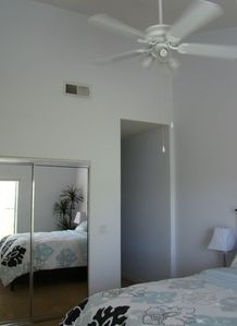 Blue Bedroom (2) - Bright and comfortable with vaulted ceilings and ceiling fan