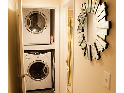 Full-sized washer & dryer. Stocked with laundry soap and dryer sheets.