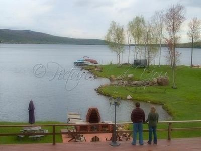 Chazy Lake house rental - Standing on the upper deck over looking lake.
