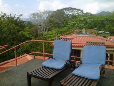 Your private rooftop area with panoramic views of mountains and beach