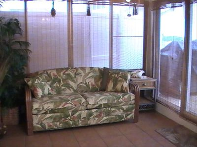 Sunroom with full size sleeper sofa