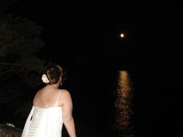 A Bride's Moon over the ocean from deck.