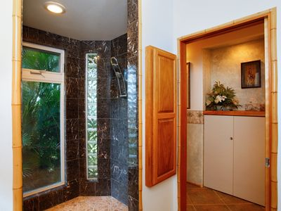 Double marble shower
