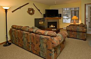 Whistler townhome photo - Relax by the fireplace in the comfortable living room with 46 HD LCD TV